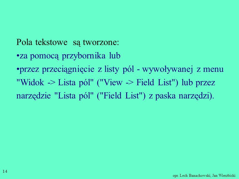 opr. Lech Banachowski, Jan Wierzbicki 13 Projektowanie raportów Zasady projektowania raportów są podobne jak dla formularzy. W szczególności w raporci