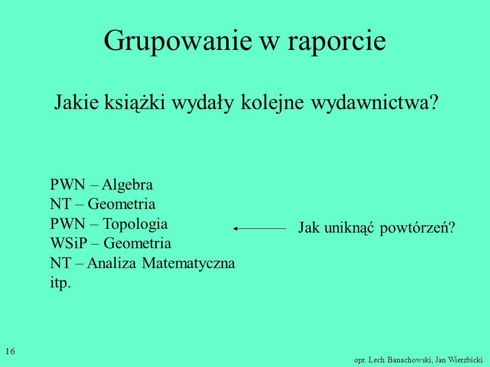 opr. Lech Banachowski, Jan Wierzbicki 15 W raporcie można używać: pól wyboru, przycisków opcji, ramek grup opcji np. określając jako