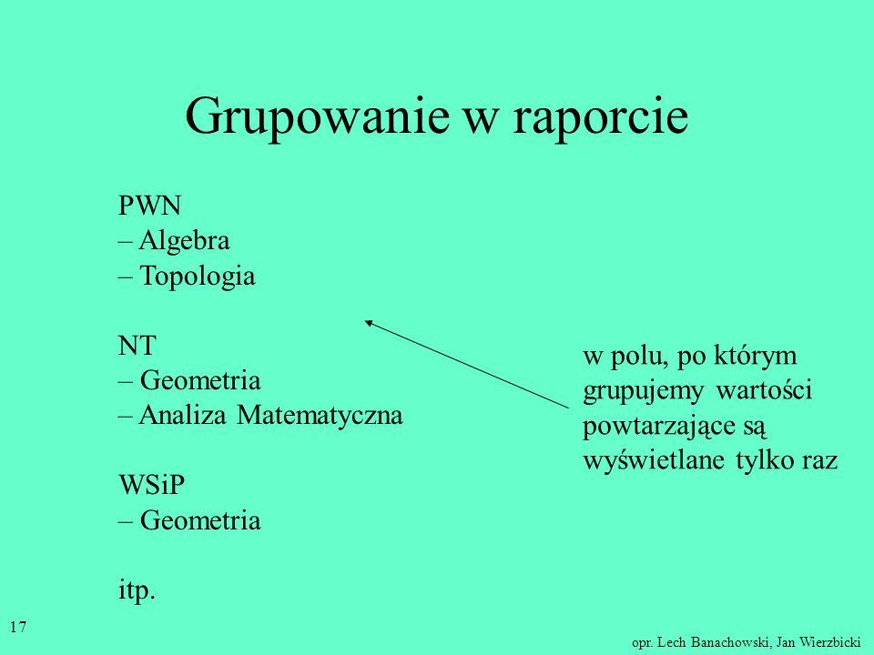 opr. Lech Banachowski, Jan Wierzbicki 16 Grupowanie w raporcie Jakie książki wydały kolejne wydawnictwa? PWN – Algebra NT – Geometria PWN – Topologia