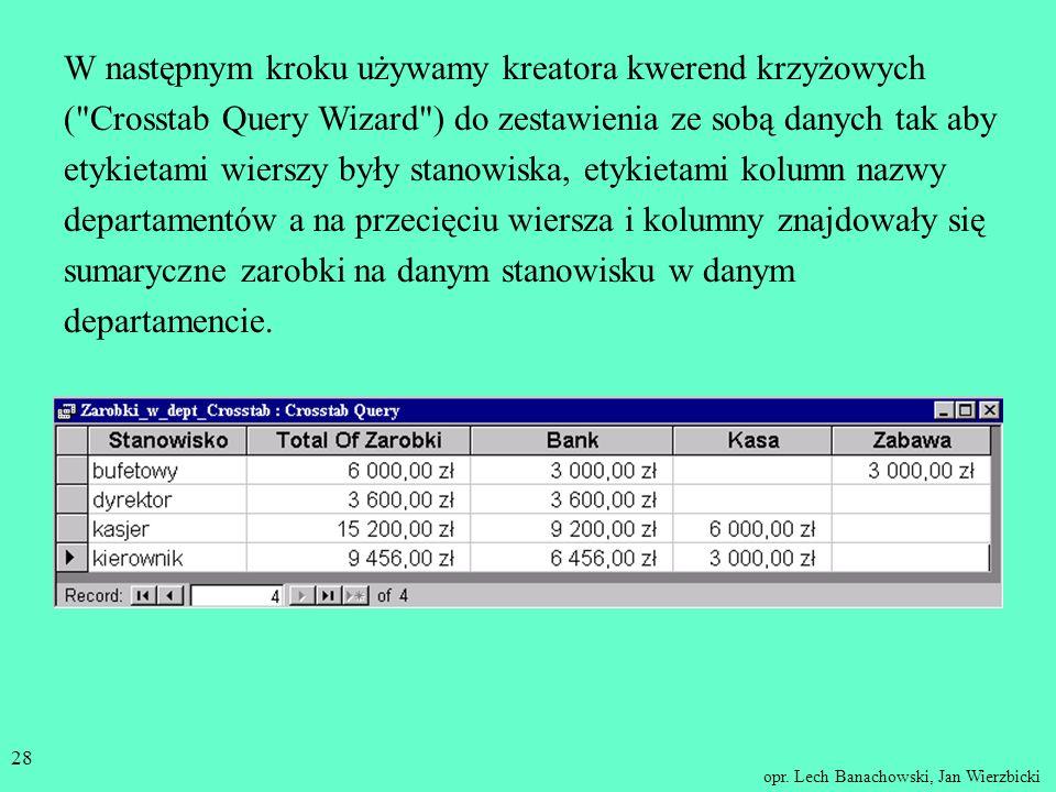 opr. Lech Banachowski, Jan Wierzbicki 27 Przykład Wychodzimy od tabel Osoba i Departament. W pierwszym kroku tworzymy kwerendę zawierającą dane potrze