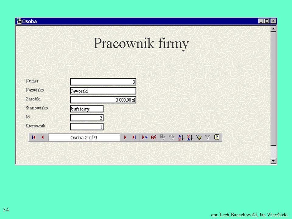opr. Lech Banachowski, Jan Wierzbicki 33 Strona bez grupowania danych - z możliwością edytowania: