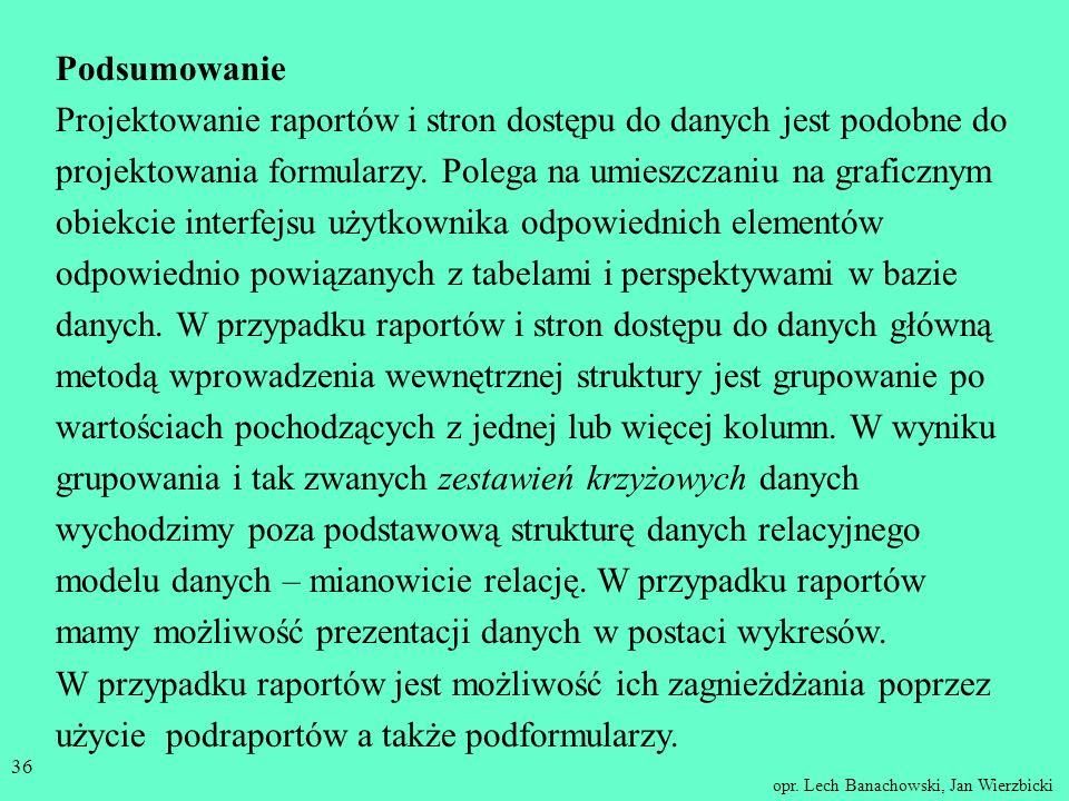 opr. Lech Banachowski, Jan Wierzbicki 35 Strona z grupowaniem danych - bez możliwości edytowania.