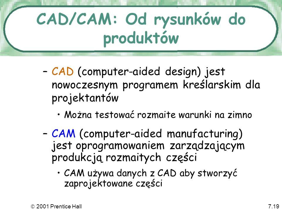 2001 Prentice Hall7.19 CAD/CAM: Od rysunków do produktów –CAD (computer-aided design) jest nowoczesnym programem kreślarskim dla projektantów Można te