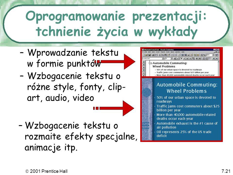 2001 Prentice Hall7.21 Oprogramowanie prezentacji: tchnienie życia w wykłady –Wprowadzanie tekstu w formie punktów –Wzbogacenie tekstu o różne style,