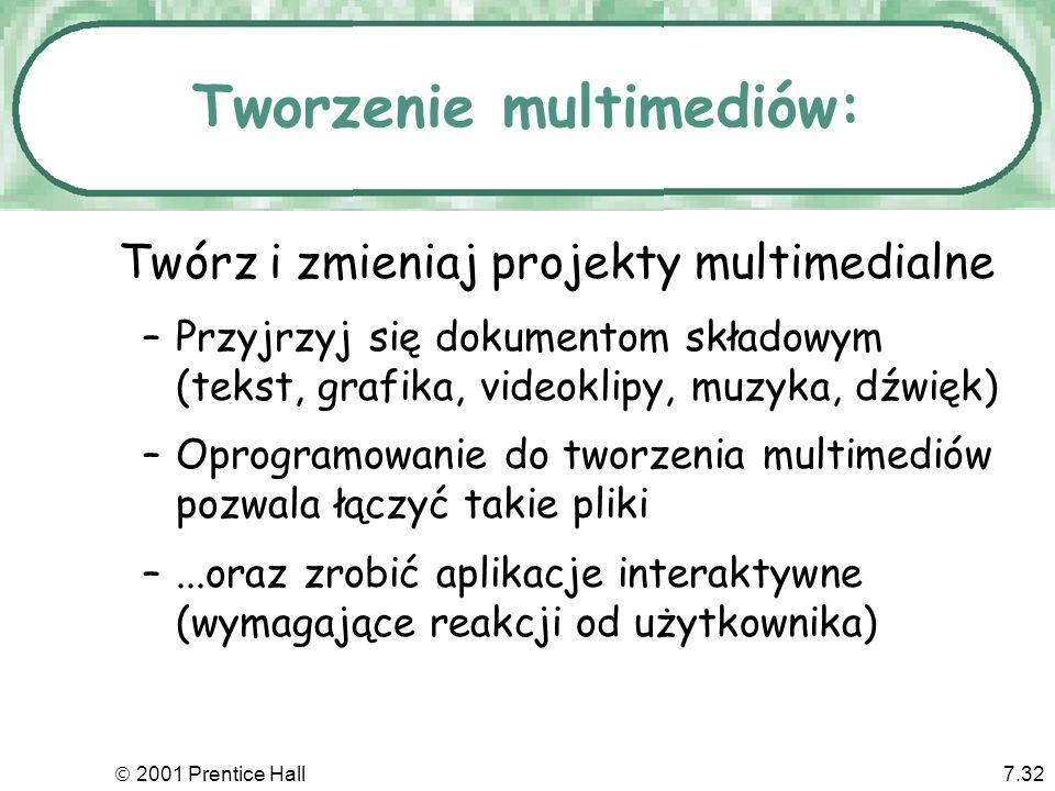 2001 Prentice Hall7.32 Tworzenie multimediów: Twórz i zmieniaj projekty multimedialne –Przyjrzyj się dokumentom składowym (tekst, grafika, videoklipy,