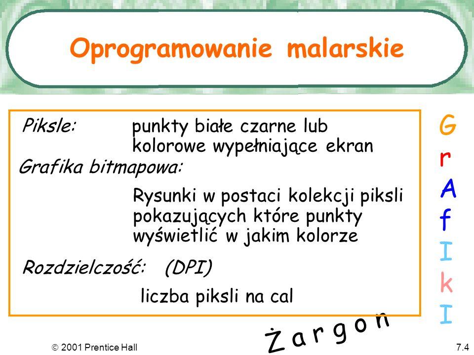 2001 Prentice Hall7.4 Oprogramowanie malarskie GrAfIkIGrAfIkI Piksle:punkty białe czarne lub kolorowe wypełniające ekran Grafika bitmapowa: Rysunki w