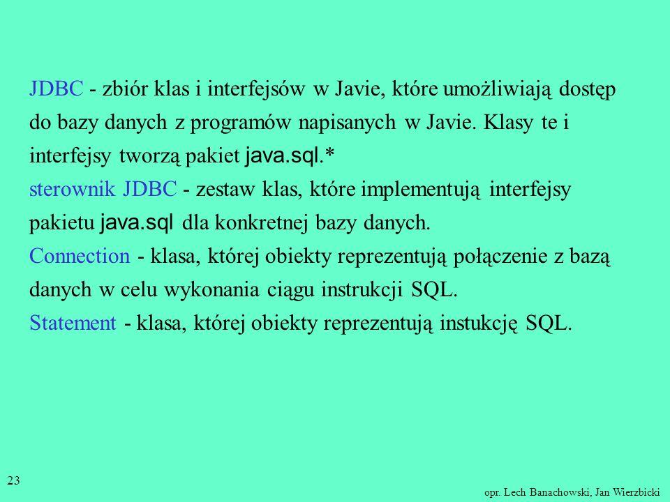 opr. Lech Banachowski, Jan Wierzbicki 22 Podsumowanie Na dwóch ostatnich wykładach czytelnik zaznajomił się z programistycznym interfejsem poziomu wyw