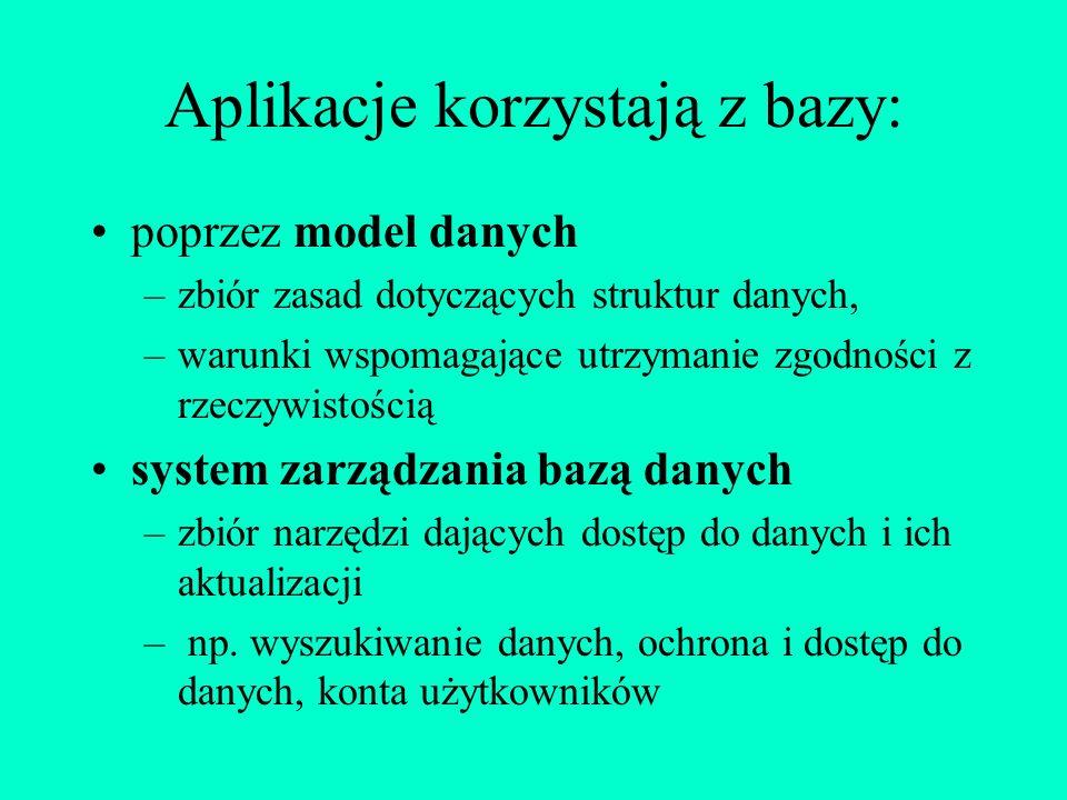 Budując bazę, bierzemy pod uwagę: jeden system (model) reprezentacji danych np. model relacyjny współbieżny dostęp do bazy przez wielu użytkowników oc