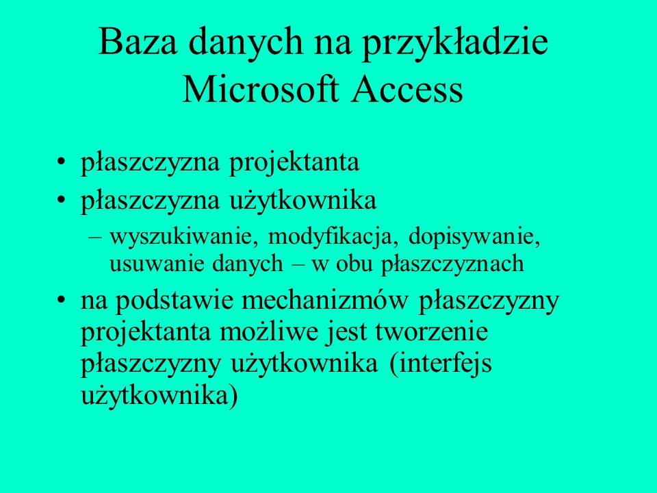 Posługiwanie się bazą danych wyszukiwanie danych modyfikacja (aktualizacja) danych dopisywanie danych usuwanie danych