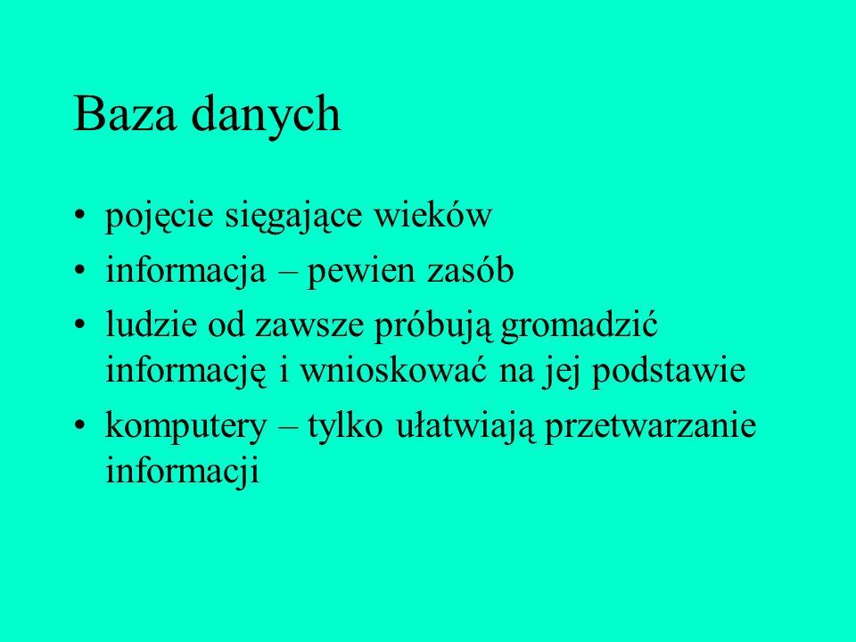 Literatura Lech Banachowski: Bazy danych - projektowanie aplikacji, Akademicka OficynaWydawnicza PLJ, 1998 Dariusz Boratyn: MS Access'97, Croma, 1997