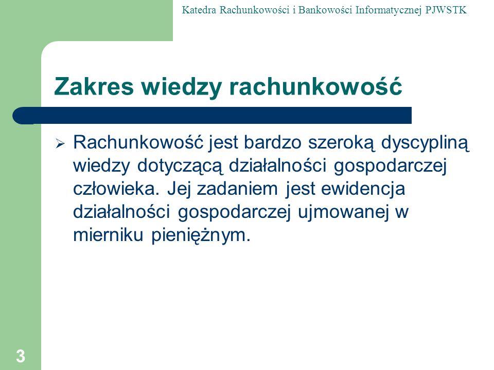 Katedra Rachunkowości i Bankowości Informatycznej PJWSTK 14 Podstawowe sprawozdania finansowe rachunkowości bilans majątkowy, rachunek zysków i strat, sprawozdanie z przepływu środków pieniężnych, informacje dodatkowe.