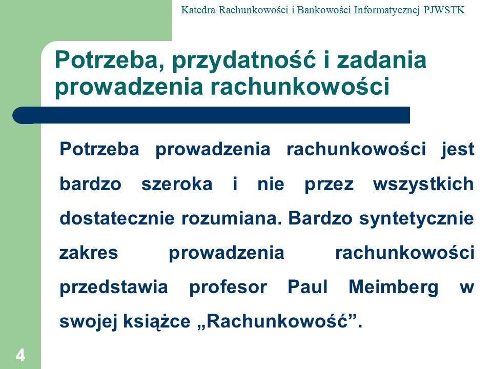 Katedra Rachunkowości i Bankowości Informatycznej PJWSTK 25 Definicja rachunkowości według A.