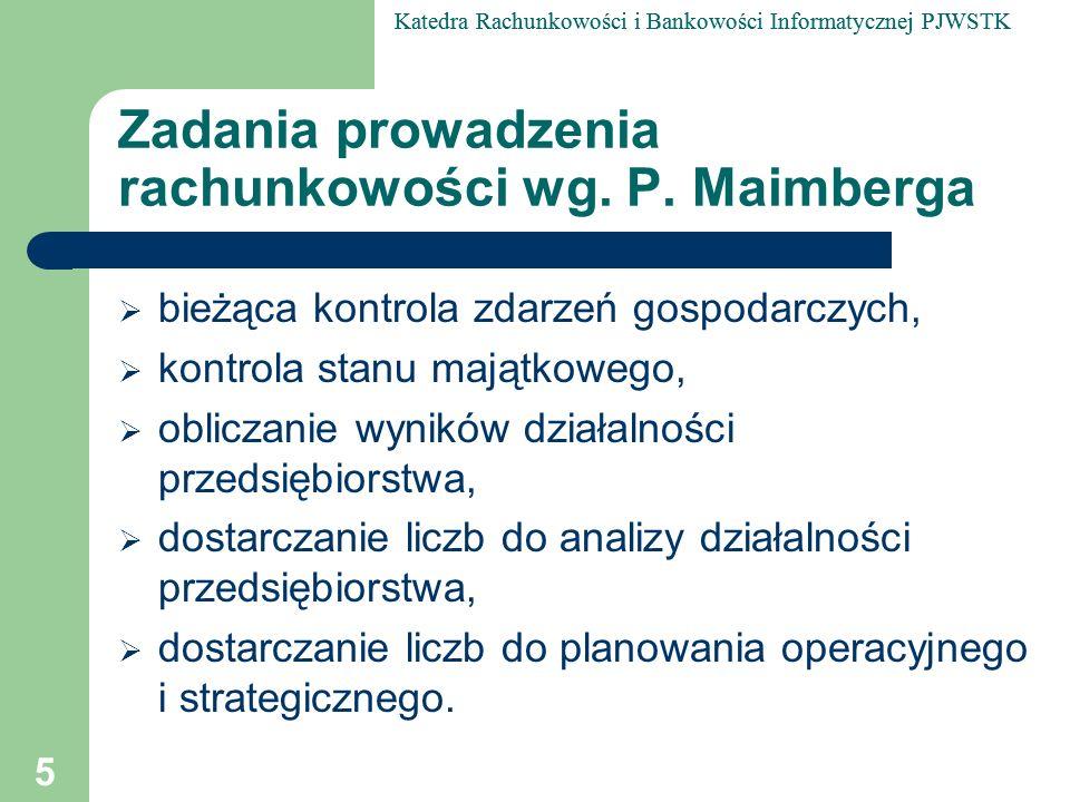 Katedra Rachunkowości i Bankowości Informatycznej PJWSTK 26 Definicja rachunkowości według K.