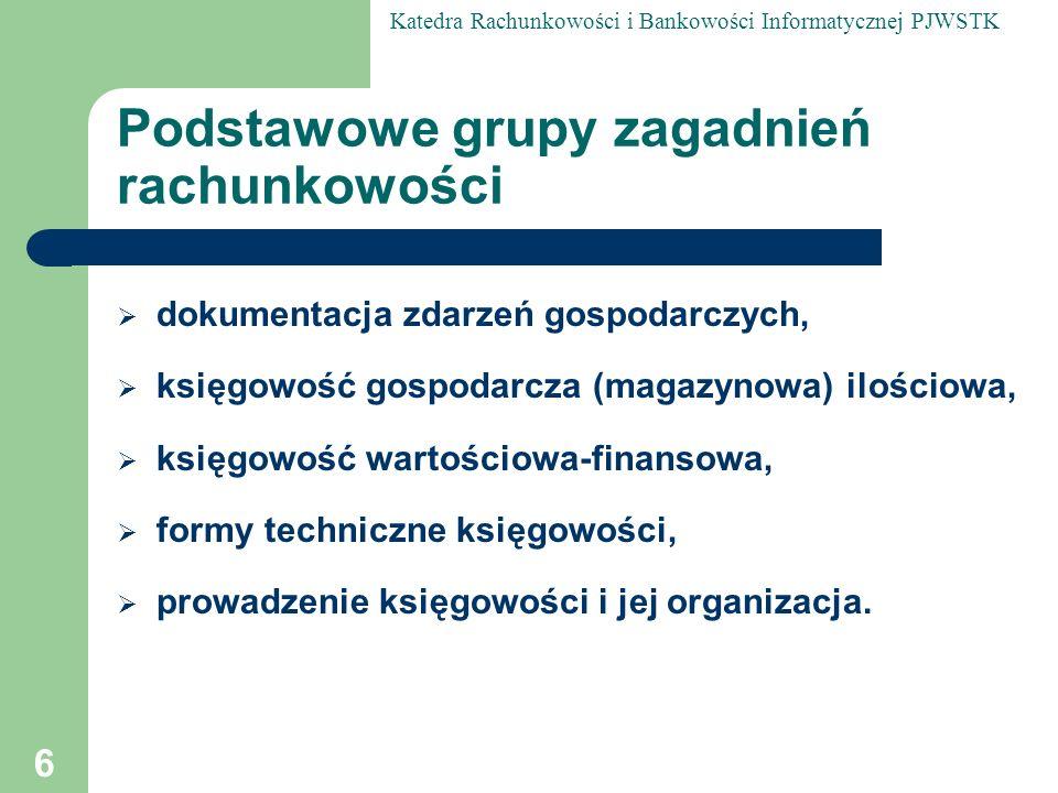 Katedra Rachunkowości i Bankowości Informatycznej PJWSTK 67 Merytoryczna klasyfikacja dokumentów (cd) druga grupa dokumentów ma za zadanie uchwycenie zmian w stanie aktywów i pasywów oraz e widencję przebiegu procesu produkcyjnego