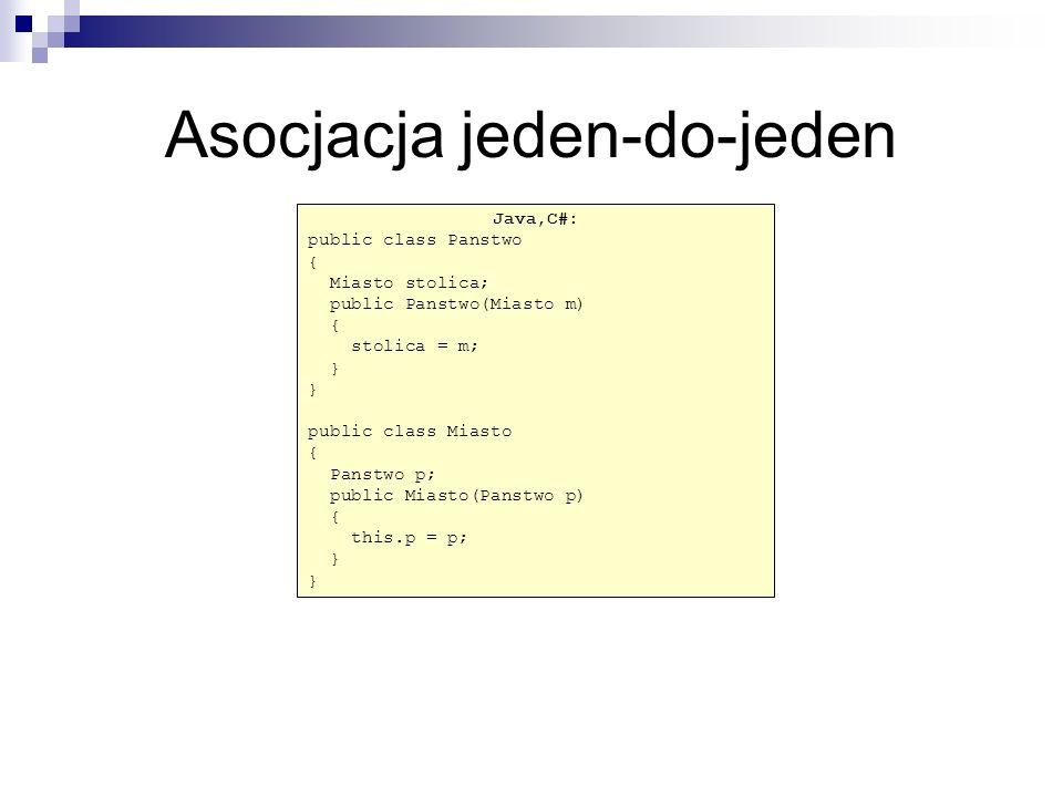 C# public class Osoba { Osoba kierownik; ArrayList pracownicy = new ArrayList(); public Osoba(Osoba o) { kierownik = o; } public void dodajPracownika(Osoba o) { pracownicy.Add(o); } Java: public class Osoba { Osoba kierownik; Collection pracownicy = new Vector(); public Osoba(Osoba o) { kierownik = o; } public void dodajPracownika(Osoba o) { pracownicy.add(o); }