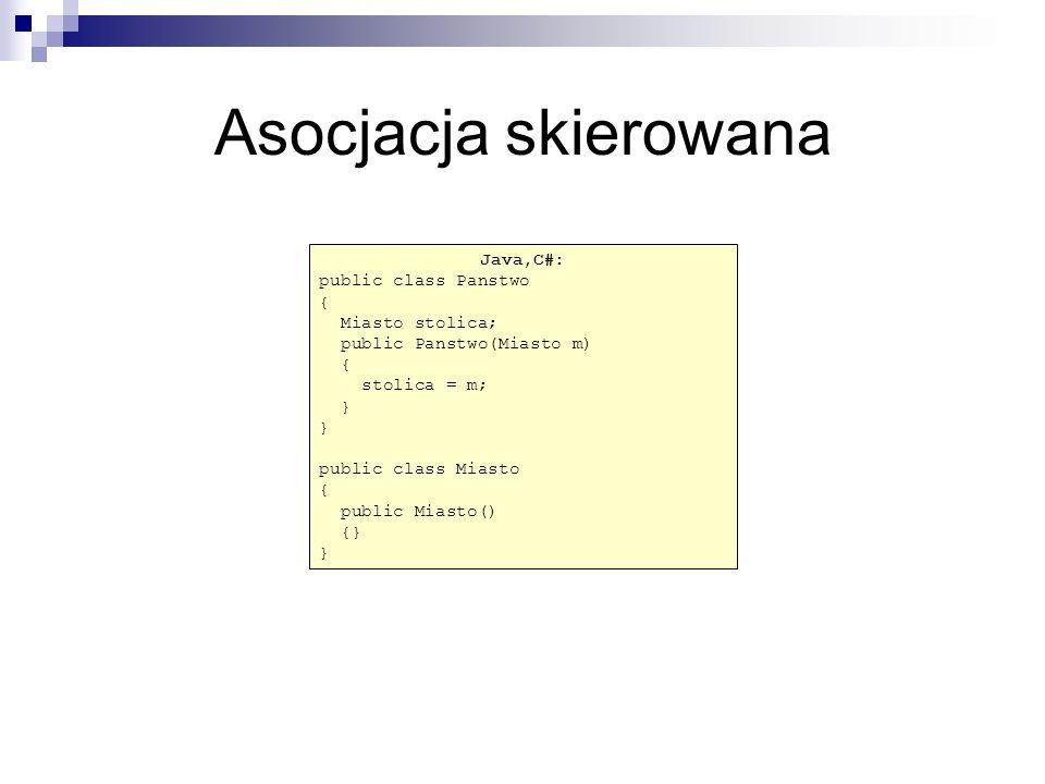 Java / C# class Czlowiek{ string nazwisko; public Czlowiek(String naz) { this.nazwisko=naz; } class Firma{ String nazwa public Firma(String naz) { this.nazwa=naz; } Java / C# class Zatrudnienie{ Czlowiek pracownik; Firma pracodawca; int pensja; public Zatrudnienie(Czlowiek c, Firma F, int stawka) { pracownik = c; pracodawca=f; pensja = stawka; }