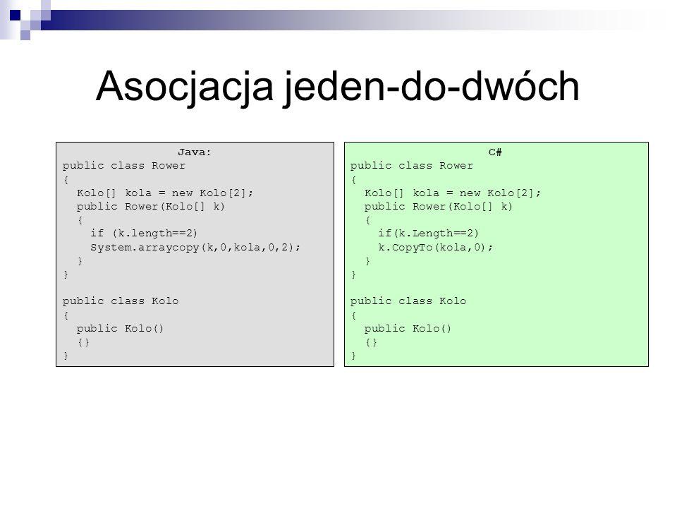 C# public class Rower { Kolo[] kola = new Kolo[2]; public Rower(Kolo[] k) { if(k.Length==2) k.CopyTo(kola,0); } public class Kolo { public Kolo() {} }