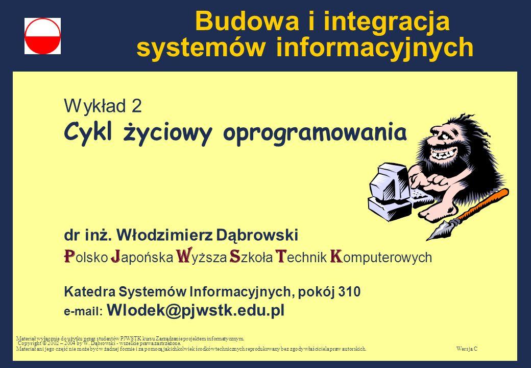 Budowa i integracja systemów informacyjnych Wykład 2 Cykl życiowy oprogramowania dr inż.
