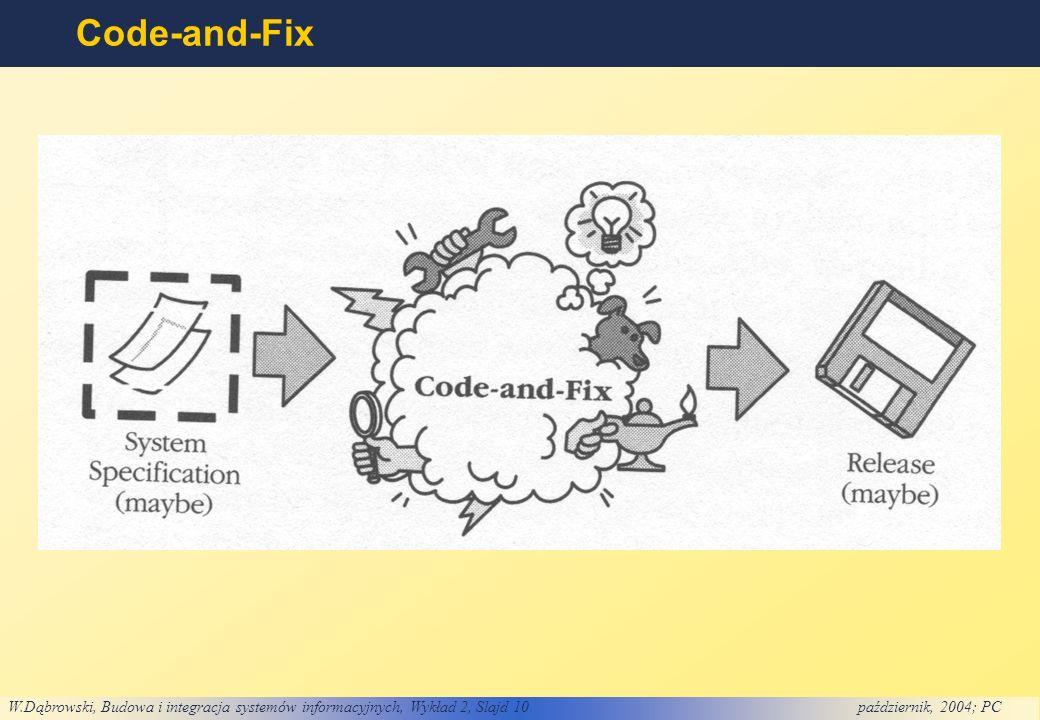 W.Dąbrowski, Budowa i integracja systemów informacyjnych, Wykład 2, Slajd 10październik, 2004; PC Code-and-Fix