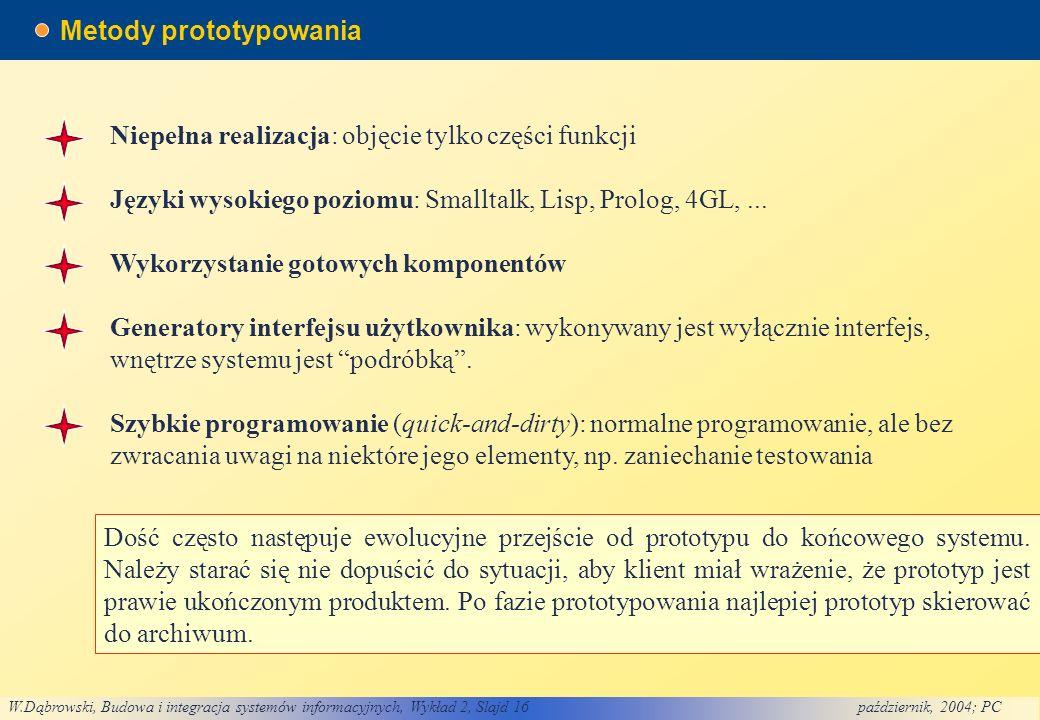 W.Dąbrowski, Budowa i integracja systemów informacyjnych, Wykład 2, Slajd 16październik, 2004; PC Metody prototypowania Niepełna realizacja: objęcie tylko części funkcji Języki wysokiego poziomu: Smalltalk, Lisp, Prolog, 4GL,...