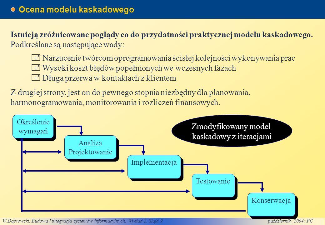 W.Dąbrowski, Budowa i integracja systemów informacyjnych, Wykład 2, Slajd 9październik, 2004; PC Ocena modelu kaskadowego Narzucenie twórcom oprogramowania ścisłej kolejności wykonywania prac Wysoki koszt błędów popełnionych we wczesnych fazach Długa przerwa w kontaktach z klientem Istnieją zróżnicowane poglądy co do przydatności praktycznej modelu kaskadowego.