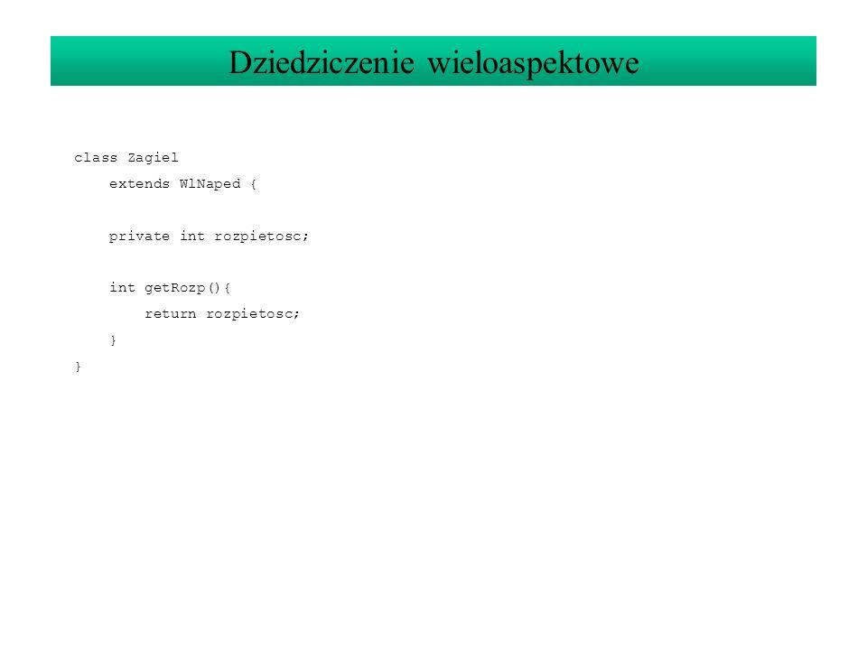 class Zagiel extends WlNaped { private int rozpietosc; int getRozp(){ return rozpietosc; } Dziedziczenie wieloaspektowe