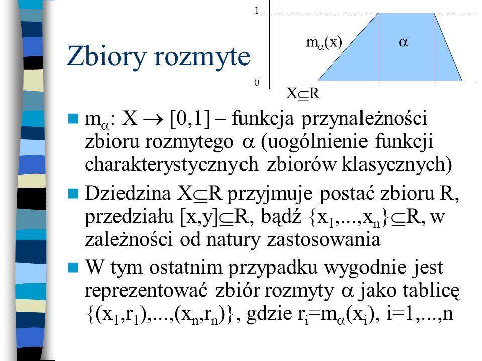 Logika rozmyta – negacja Niech będzie zbiorem rozmytym określonym na dziedzinie X R Negację zbioru definiujemy jako zbiór o funkcji przynależności m :X [0,1] określonej wzorem m (x) = 1 – m (x) x X Przykładowo, dla zbioru określonego przez tablicę {(3,0.4),(5,1),(7,0.5),(9,0)} to tablica {(3,0.6),(5,0),(7,0.5),(9,1)}
