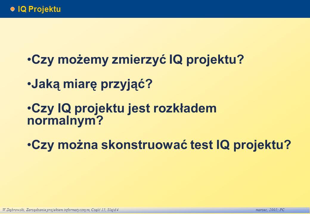 W.Dąbrowski, Zarządzanie projektem informatycznym, Część 15, Slajd 4marzec, 2005; PC IQ Projektu Czy możemy zmierzyć IQ projektu? Jaką miarę przyjąć?