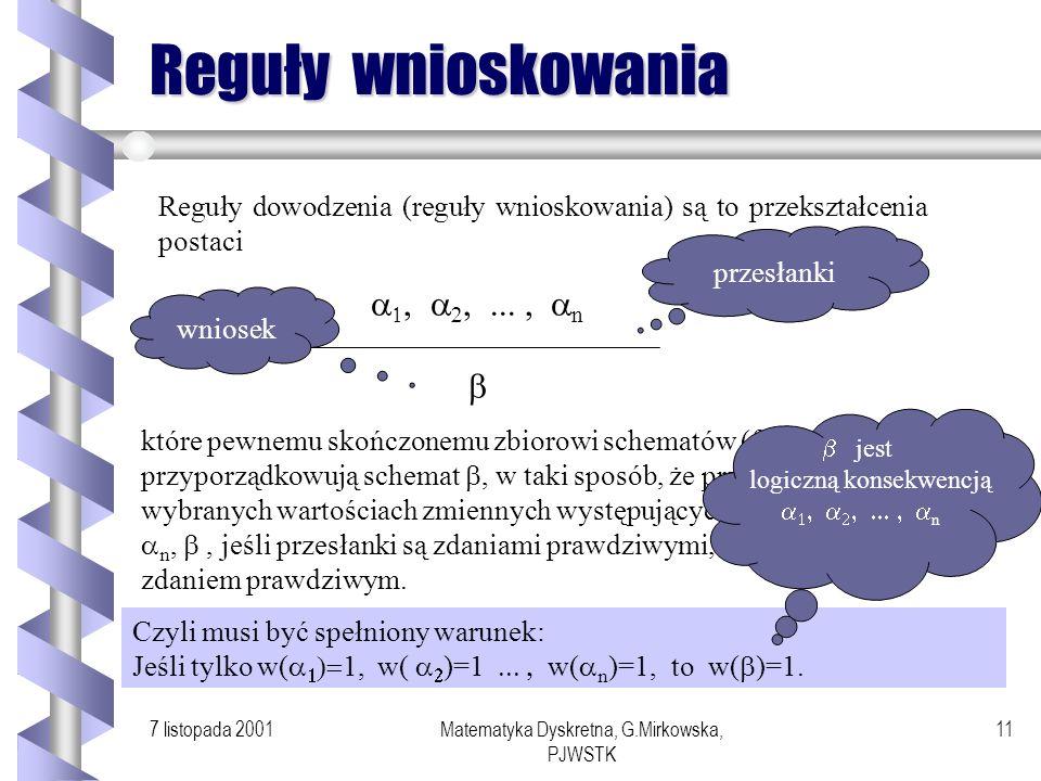 7 listopada 2001Matematyka Dyskretna, G.Mirkowska, PJWSTK 10 Obserwacja Jeżeli formuła zależna od zmiennych zdaniowych p 1,..., p n jest tautologią, t