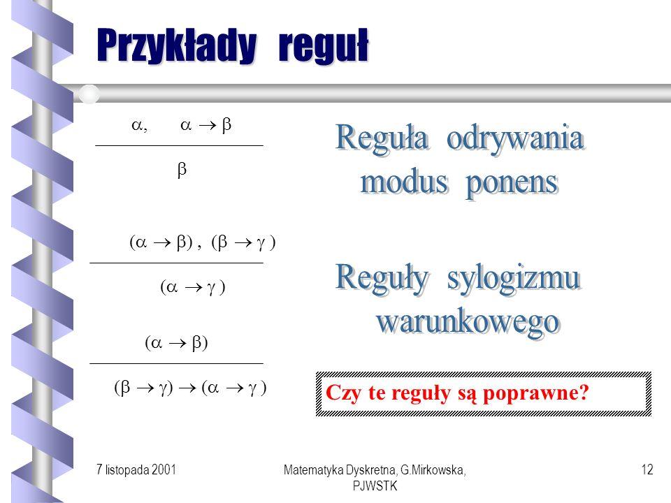 7 listopada 2001Matematyka Dyskretna, G.Mirkowska, PJWSTK 11 Reguły wnioskowania Reguły dowodzenia (reguły wnioskowania) są to przekształcenia postaci