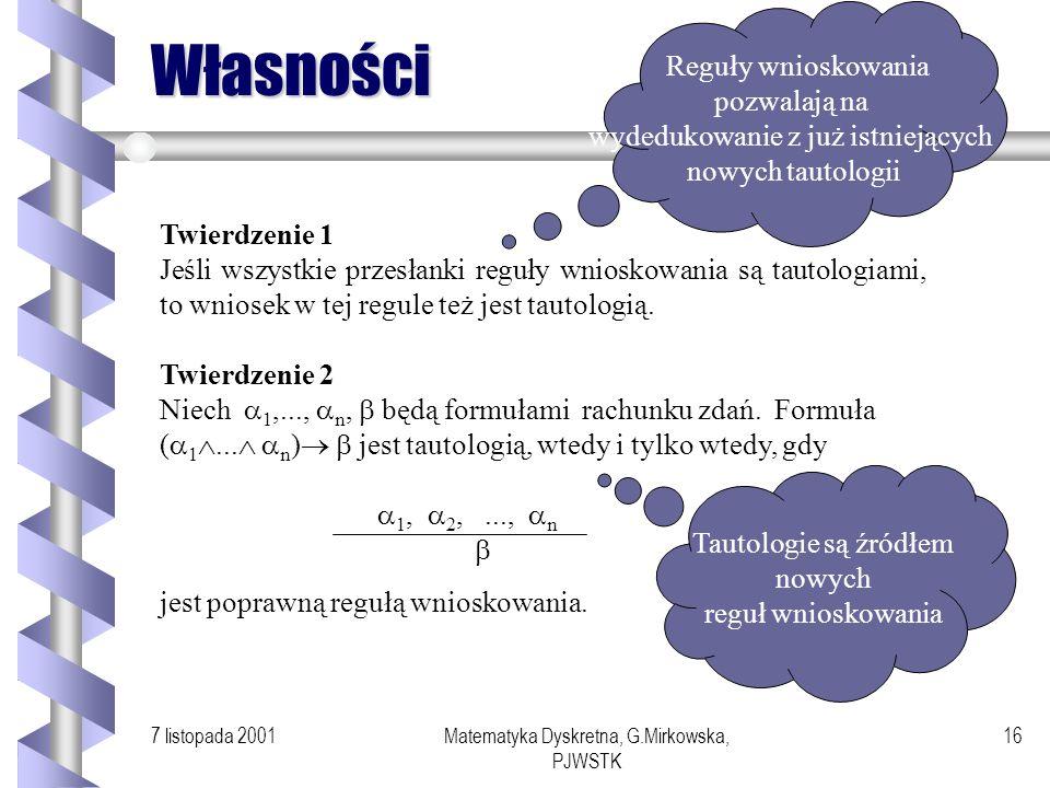 7 listopada 2001Matematyka Dyskretna, G.Mirkowska, PJWSTK 15 Sprowadzanie do sprzeczności Przykład Udowodnimy, że 2 jest liczbą niewymierną. Chcemy po