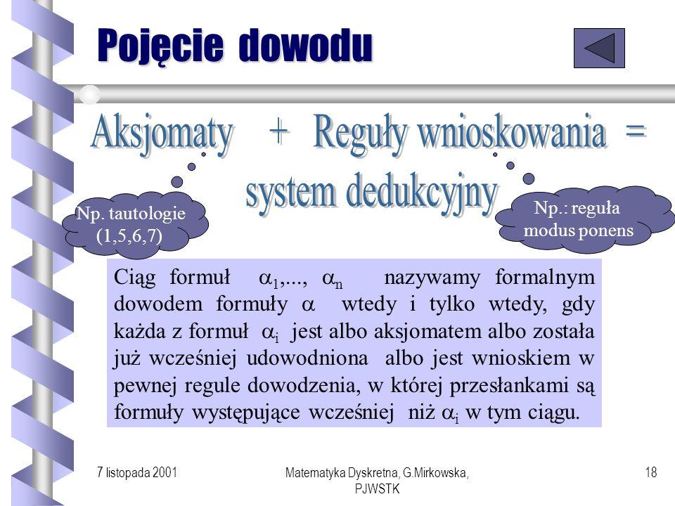 7 listopada 2001Matematyka Dyskretna, G.Mirkowska, PJWSTK 17 Logika a informatyka while (p (p q)) do x := x+1 od Jaka jest wartość x po wykonaniu tej