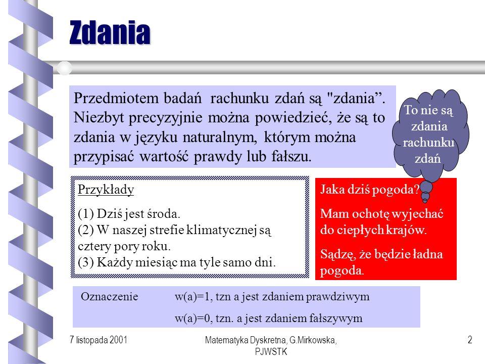 7 listopada 2001Matematyka Dyskretna, G.Mirkowska, PJWSTK 1 Wykład 6 Rachunek Zdań