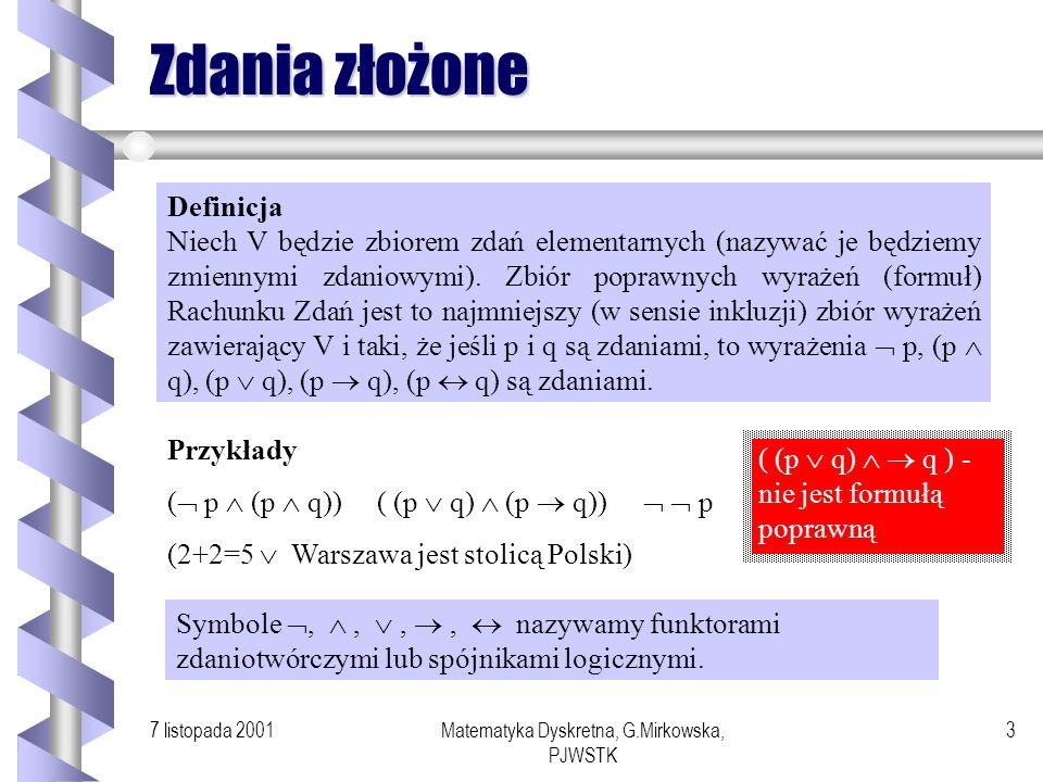 7 listopada 2001Matematyka Dyskretna, G.Mirkowska, PJWSTK 2 Zdania Przedmiotem badań rachunku zdań są