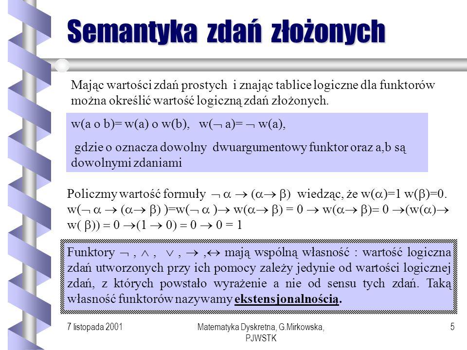 7 listopada 2001Matematyka Dyskretna, G.Mirkowska, PJWSTK 4 Tablice logiczne 0 1 0 0 0 1 0 1 0 1 0 0 1 1 1 1 0 1 0 1 1 1 0 1 0 1 0 1 0 1 0 1 p 0 1 1 0