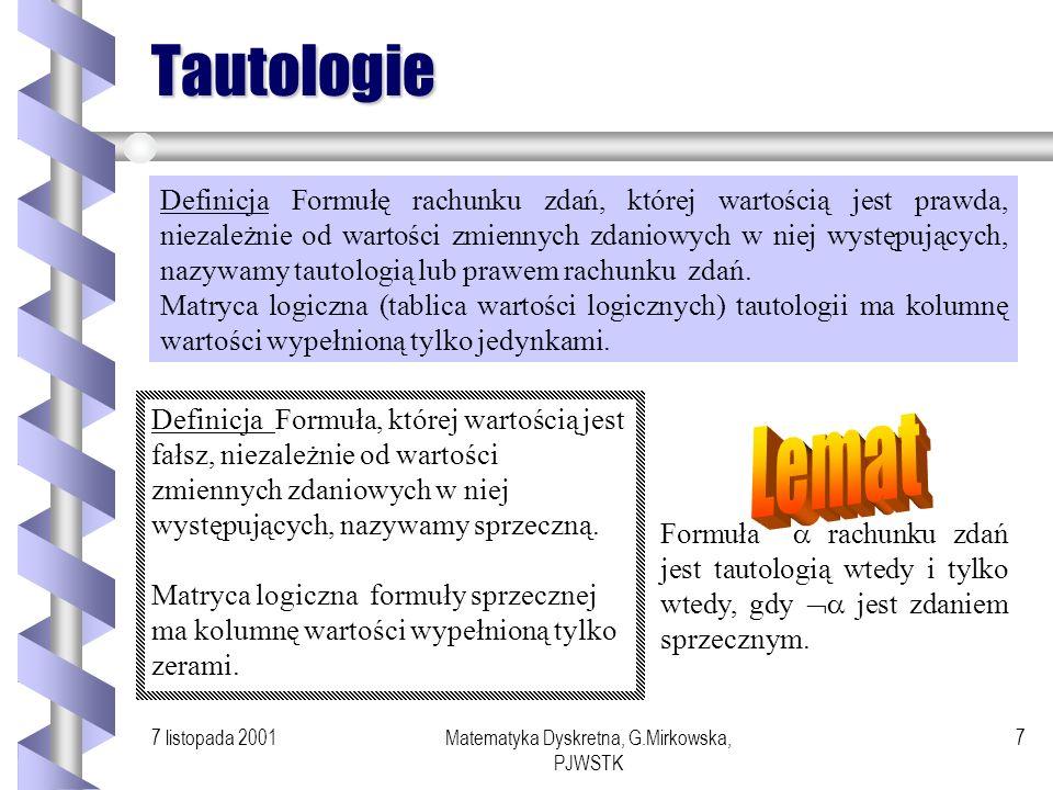7 listopada 2001Matematyka Dyskretna, G.Mirkowska, PJWSTK 6 Przykład Wartość zdania : wszyscy na tej sali żywo interesują się logiką lub na tej sali w