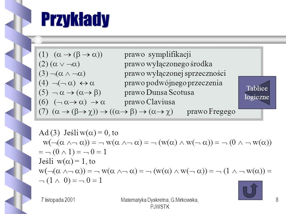 7 listopada 2001Matematyka Dyskretna, G.Mirkowska, PJWSTK 7 Tautologie Definicja Formułę rachunku zdań, której wartością jest prawda, niezależnie od w