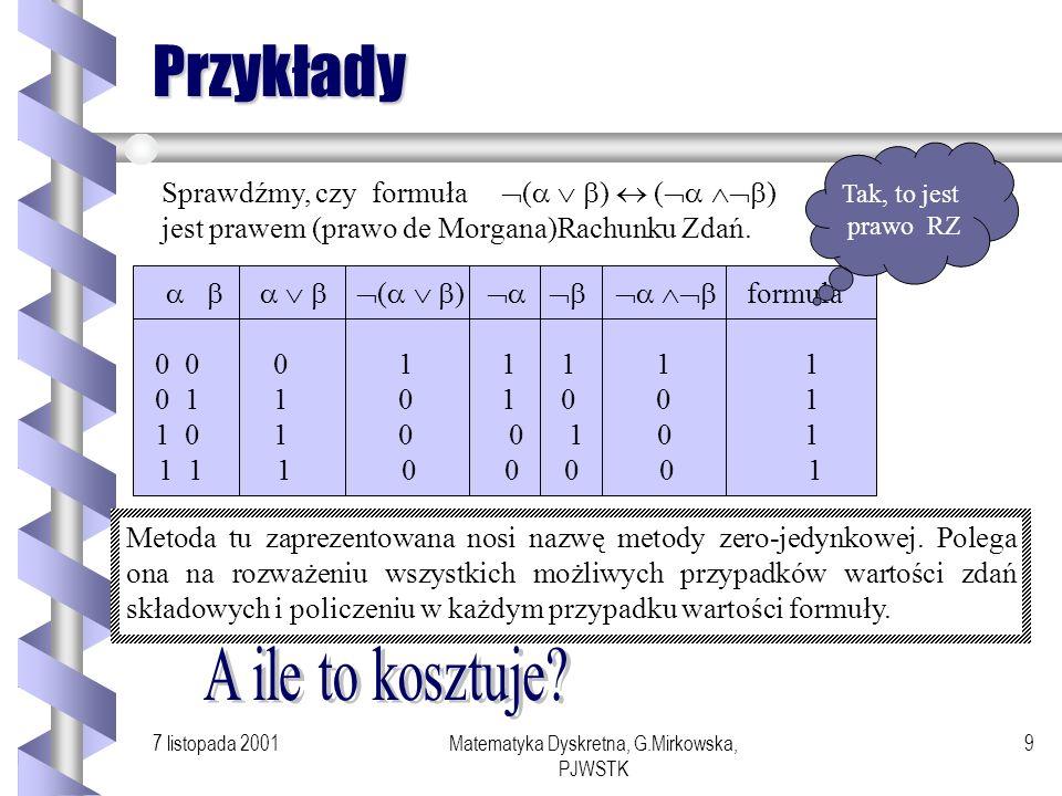 7 listopada 2001Matematyka Dyskretna, G.Mirkowska, PJWSTK 8 Przykłady prawo symplifikacji prawo wyłączonego środka prawo wyłączonej sprzeczności (4) p