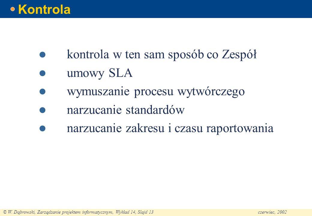 © W. Dąbrowski, Zarządzanie projektem informatycznym, Wykład 14, Slajd 13czerwiec, 2002 Kontrola kontrola w ten sam sposób co Zespół umowy SLA wymusza