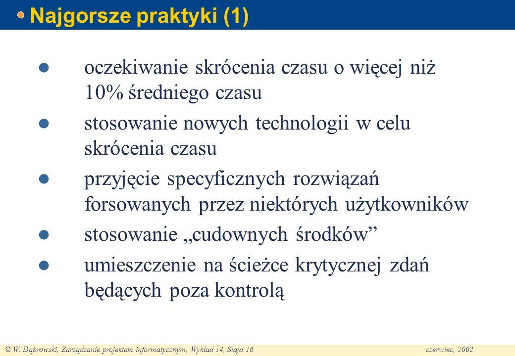 © W. Dąbrowski, Zarządzanie projektem informatycznym, Wykład 14, Slajd 16czerwiec, 2002 Najgorsze praktyki (1) oczekiwanie skrócenia czasu o więcej ni