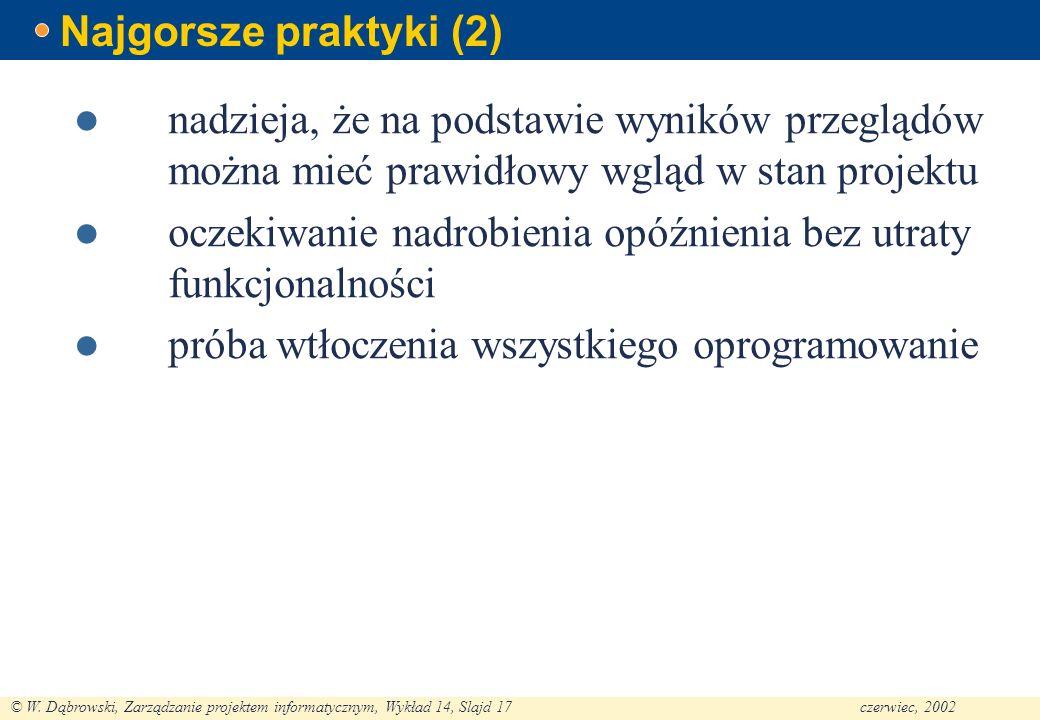 © W. Dąbrowski, Zarządzanie projektem informatycznym, Wykład 14, Slajd 17czerwiec, 2002 Najgorsze praktyki (2) nadzieja, że na podstawie wyników przeg