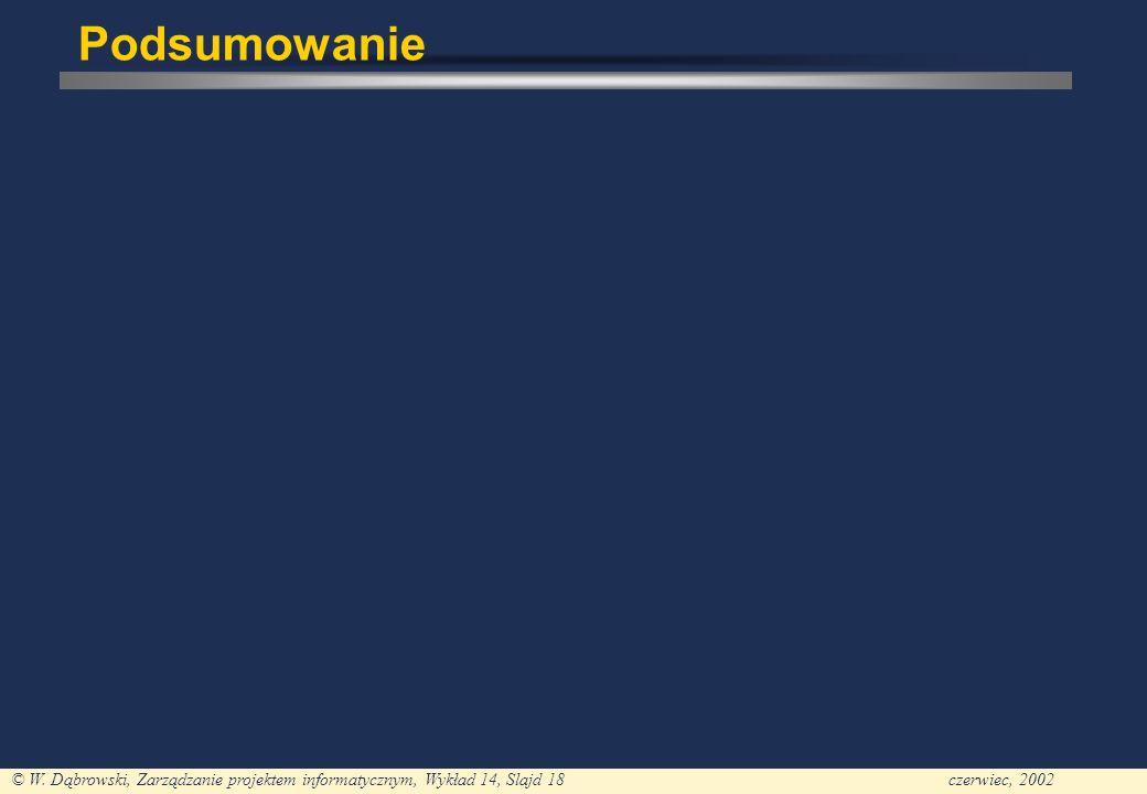 © W. Dąbrowski, Zarządzanie projektem informatycznym, Wykład 14, Slajd 18czerwiec, 2002 Podsumowanie