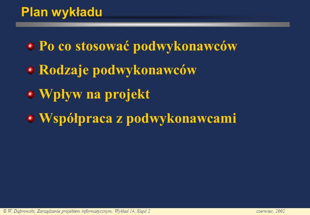 © W. Dąbrowski, Zarządzanie projektem informatycznym, Wykład 14, Slajd 2czerwiec, 2002 Plan wykładu Po co stosować podwykonawców Rodzaje podwykonawców