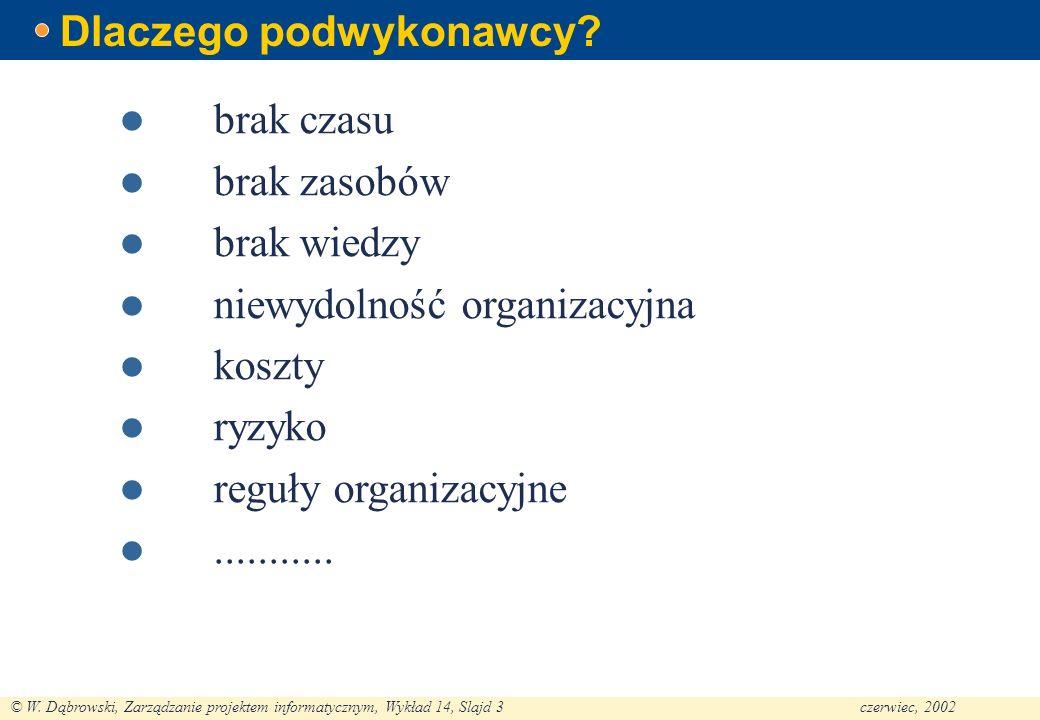 © W. Dąbrowski, Zarządzanie projektem informatycznym, Wykład 14, Slajd 3czerwiec, 2002 Dlaczego podwykonawcy? brak czasu brak zasobów brak wiedzy niew