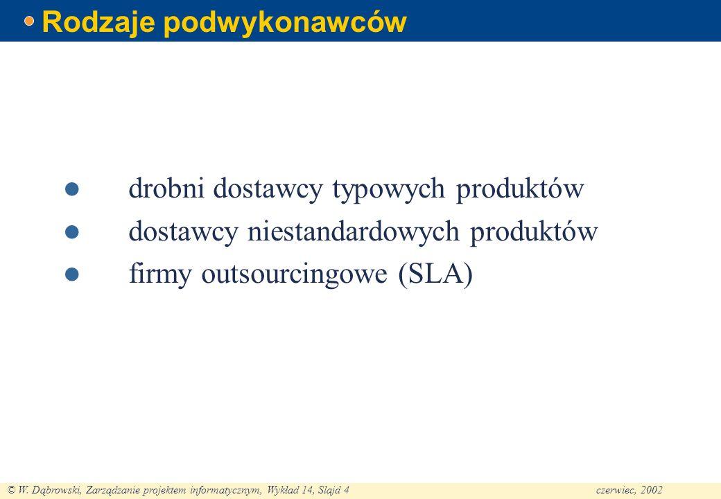 © W. Dąbrowski, Zarządzanie projektem informatycznym, Wykład 14, Slajd 4czerwiec, 2002 Rodzaje podwykonawców drobni dostawcy typowych produktów dostaw