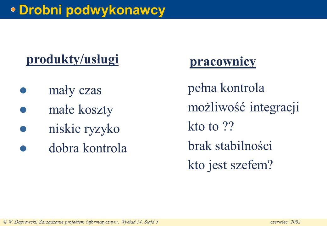 © W. Dąbrowski, Zarządzanie projektem informatycznym, Wykład 14, Slajd 5czerwiec, 2002 Drobni podwykonawcy mały czas małe koszty niskie ryzyko dobra k