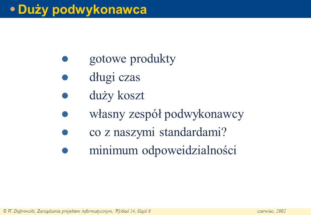 © W. Dąbrowski, Zarządzanie projektem informatycznym, Wykład 14, Slajd 6czerwiec, 2002 Duży podwykonawca gotowe produkty długi czas duży koszt własny
