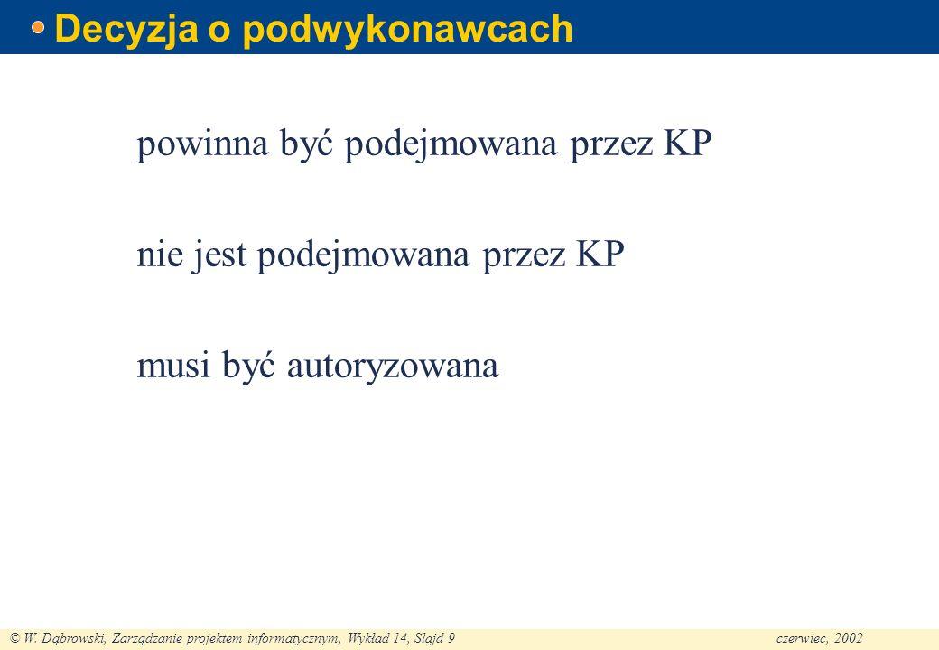 © W. Dąbrowski, Zarządzanie projektem informatycznym, Wykład 14, Slajd 9czerwiec, 2002 Decyzja o podwykonawcach powinna być podejmowana przez KP nie j