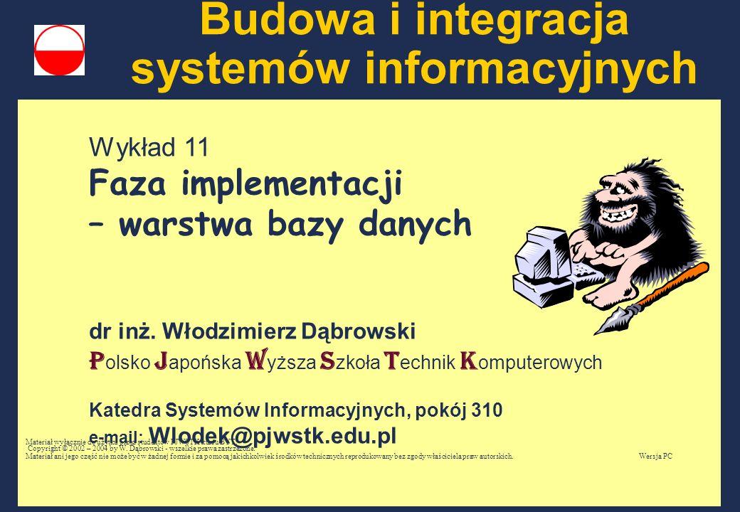 Wykład 11 Faza implementacji – warstwa bazy danych dr inż. Włodzimierz Dąbrowski P olsko J apońska W yższa S zkoła T echnik K omputerowych Katedra Sys