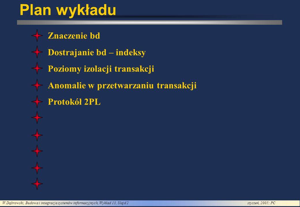 W.Dąbrowski, Budowa i integracja systemów informacyjnych, Wykład 13, Slajd 2styczeń, 2005; PC Plan wykładu Znaczenie bd Dostrajanie bd – indeksy Pozio